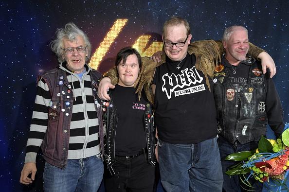 Finland's Eurovision song contest representative, punk band Pertti Kurikan Nimipaivat (PKN) celebrate heading to the 2015 Eur