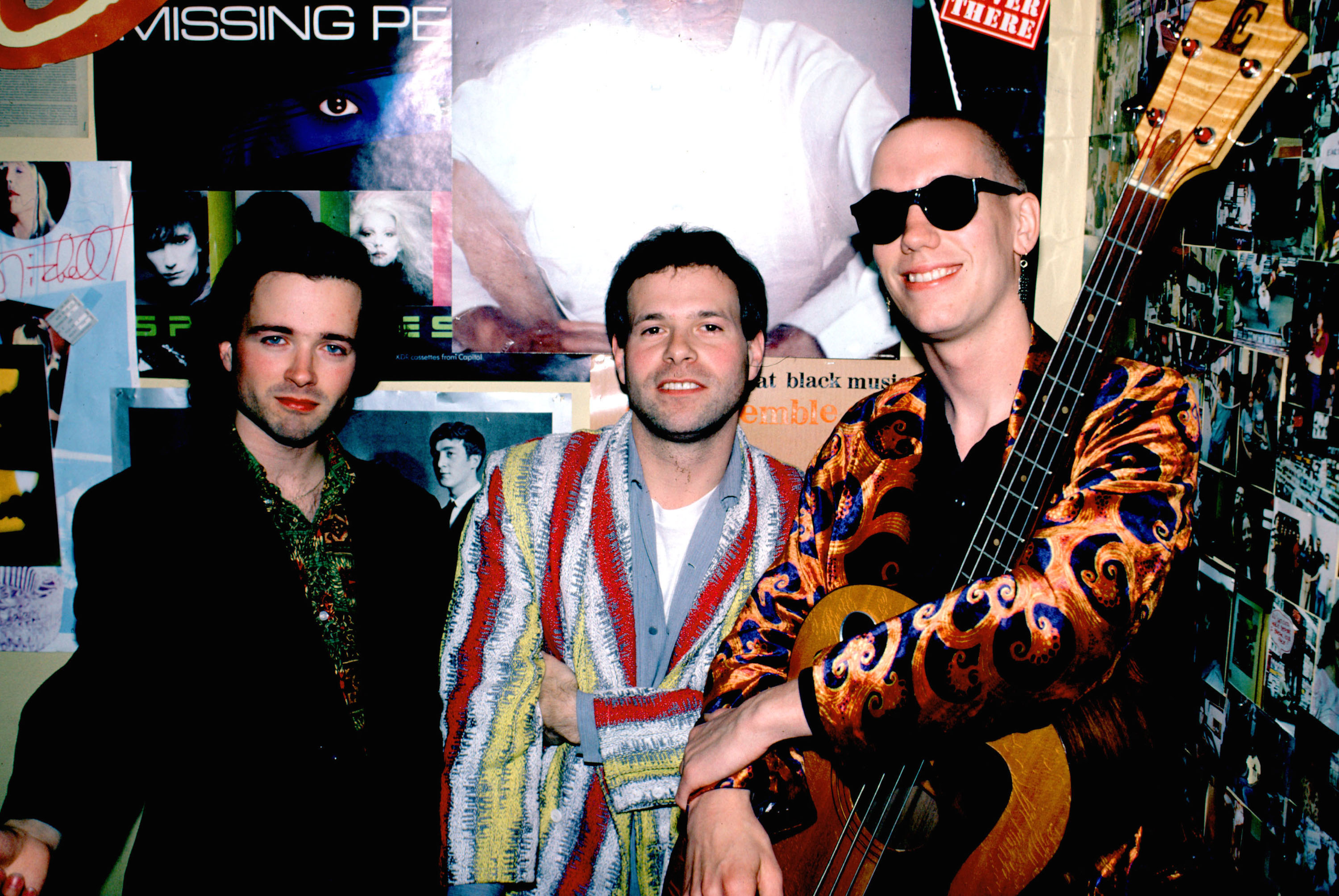 Gordon Gano, Victor DeLorenzo and Brian Ritchie of Violent Femmes perform a set at Tower Records in Sherman Oaks, CA, 1985 (P