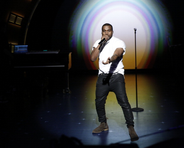 LATE NIGHT WITH SETH MEYERS -- Episode 0002 -- Pictured: Musical guest Kanye West performs on February 25, 2014 -- (Photo by: