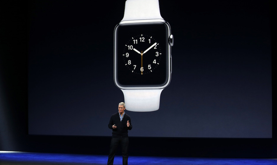 SAN FRANCISCO, CA - MARCH 9: Apple CEO Tim Cook announces the Apple Watch during an Apple special event at the Yerba Buena Ce