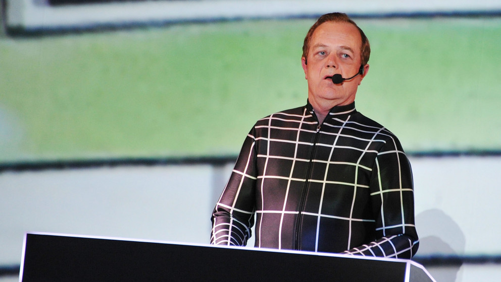 NEW YORK, NY - APRIL 10:  Ralf Hütter of the band Kraftwerk performs during the Kraftwerk - Retrospective 1 2 3 4 5 6 7 8, A