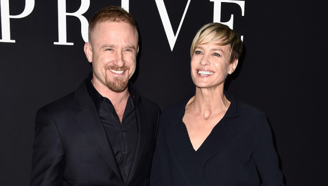 PARIS, FRANCE - JANUARY 27:  (L-R) Ben Foster and Robin Wright attend the Giorgio Armani Prive show as part of Paris Fashion