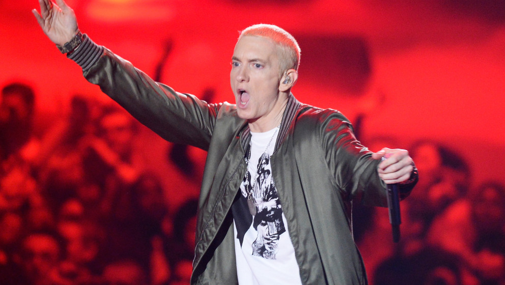 LOS ANGELES, CA - APRIL 13:  Recording artist Eminem performs onstage at the 2014 MTV Movie Awards at Nokia Theatre L.A. Live