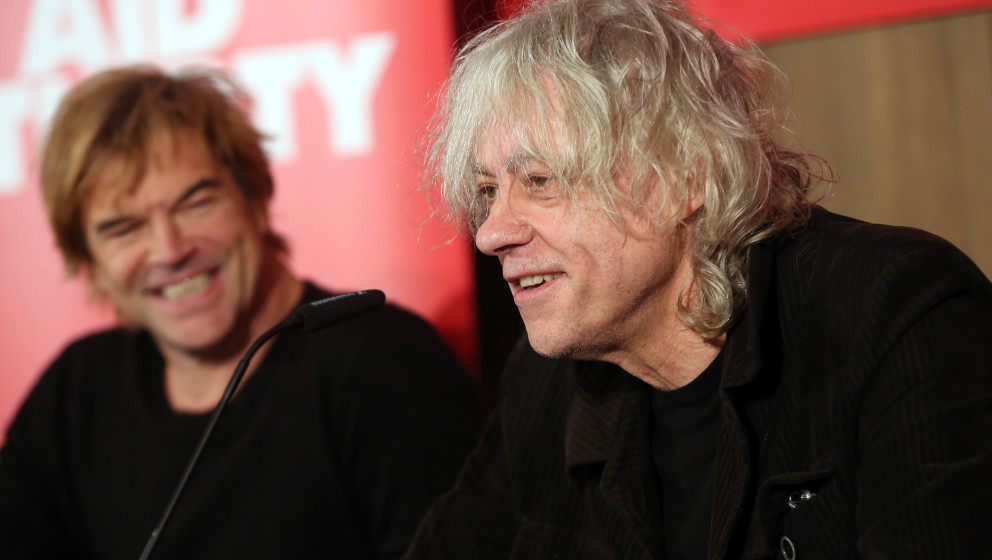 BERLIN, GERMANY - NOVEMBER 13:  German Singer Campino (L) and Irish Singer Bob Geldof attend a press conference about the Ger