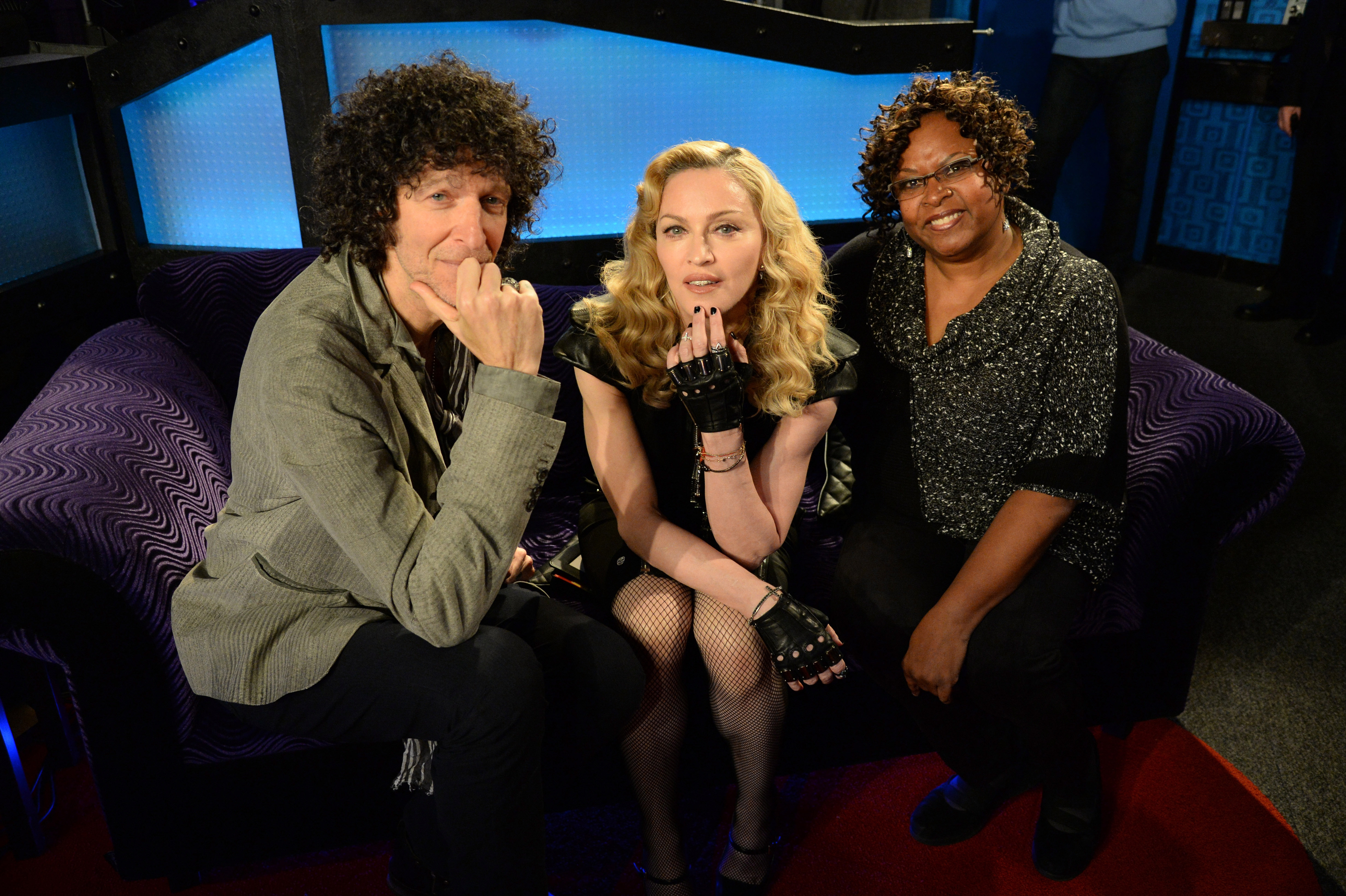 NEW YORK, NY - MARCH 11:  (Exclusive Coverage)  Howard Stern, Madonna and Robin Quivers pose in the studio after Madonna Live