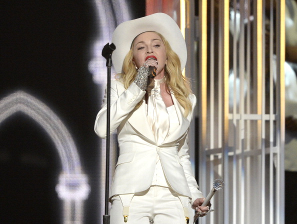 LOS ANGELES, CA - JANUARY 26:  Singer Madonna performs onstage during the 56th GRAMMY Awards at Staples Center on January 26,