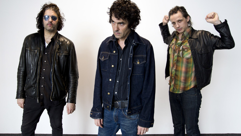 Jon Spencer Blues Explosion, studio portraits, Amsterdam, Netherlands, 13 August 2012. L-R Russell Simins, Jon Spencer and Ju
