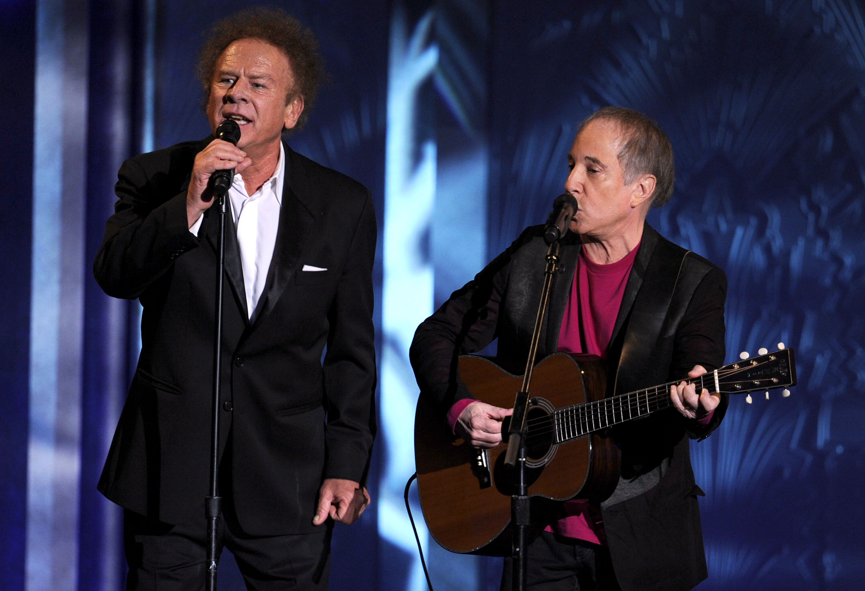CULVER CITY, CA - JUNE 10:  Musicians Art Garfunkel (L) and Paul Simon of Simon & Garfunkel perform onstage during the 38