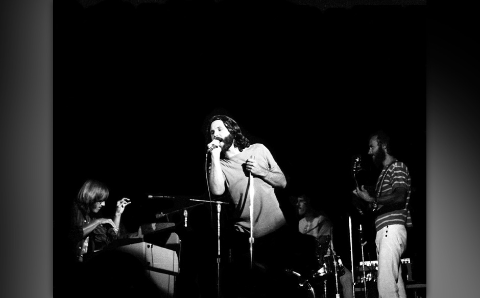 SAN DIEGO - August 22:   (L-R) Ray Manzarek, Jim Morrison, Jim Densmore and Robby Krieger The Doors perform at the Sports Are
