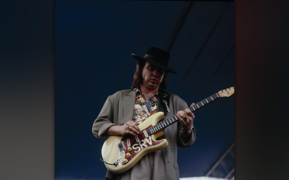 NEW ORLEANS - MAY 06 : Stevie Ray Vaughan performs on stage at the New Orleans Jazz and Heritage Festival in New Orleans, Lou