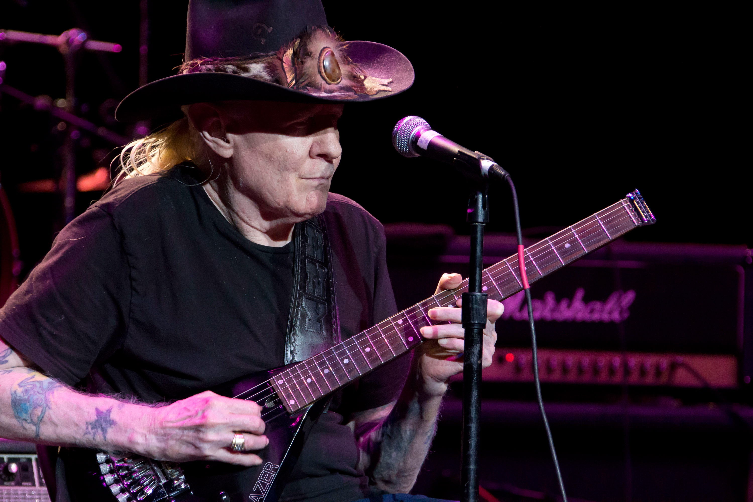 CLARKSTON, MI - AUGUST 30:  Johnny Winter peforms at DTE Energy Center on August 30, 2012 in Clarkston, Michigan.  (Photo by