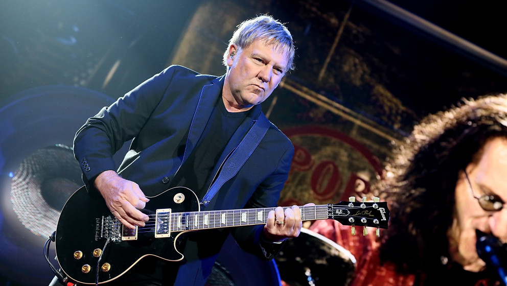 AUSTIN, TX - APRIL 23:  Alex Lifeson performs in concert with Rush at The Frank Erwin Center on April 23, 2013 in Austin, Tex