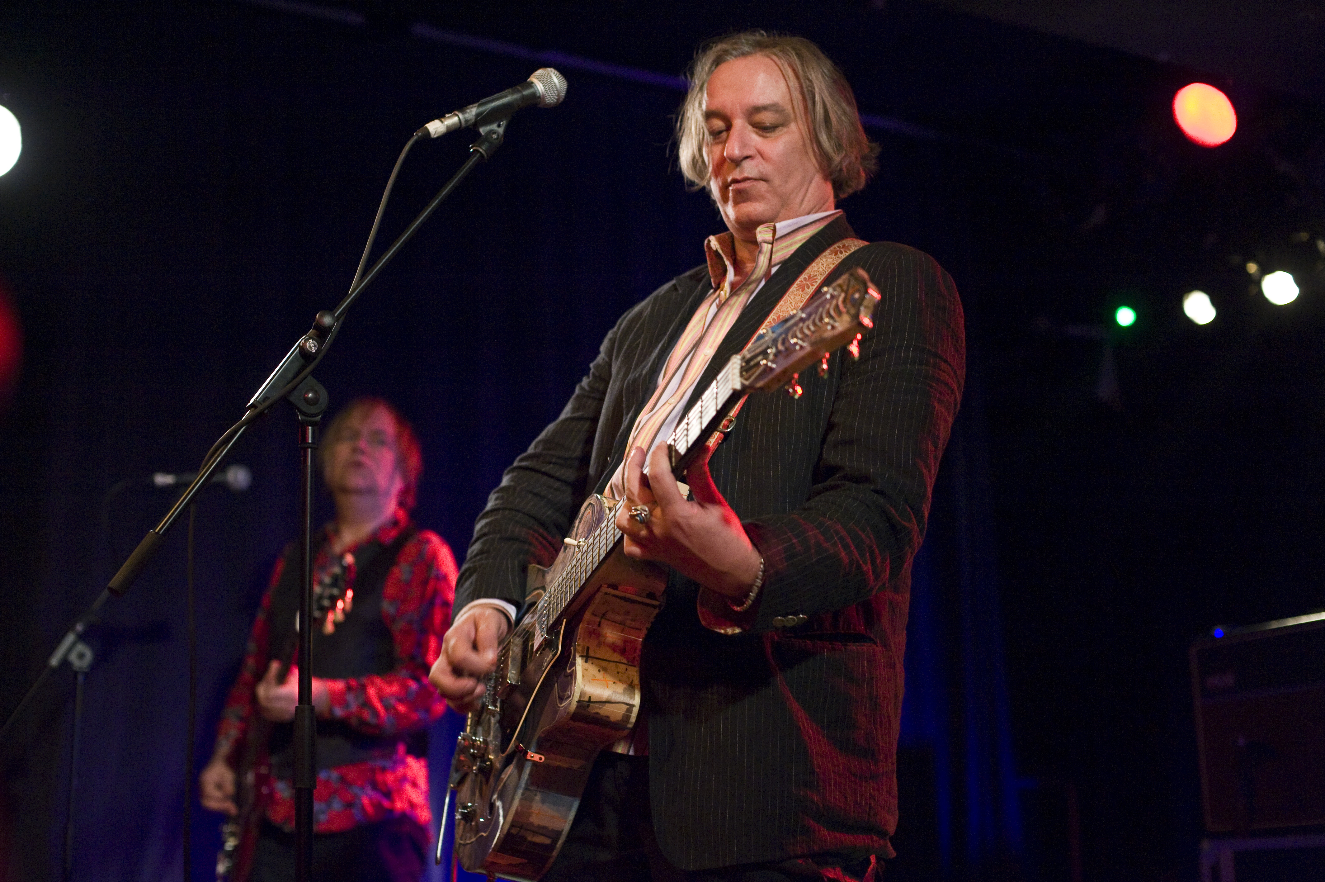 BARCELONA, SPAIN - JUNE 19: Kurt Bloch and Peter Buck of Peter Buck Band perform on stage at Sala Apolo on June 19, 2013 in B