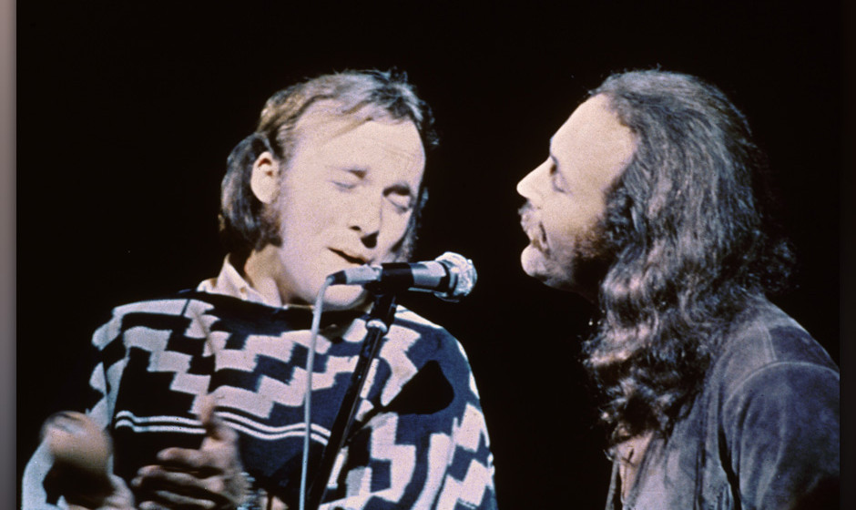 American musicians Stephen Stills (left) and David Crosby of the group Crosby, Stills, & Nash performs on stage at the Wo