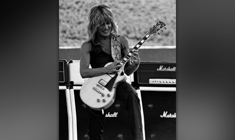 OAKLAND - July 4:   Randy Rhoads with Ozzy Osbourne performing at the Oakland Coliseum in Oakland, California on July 4, 1981