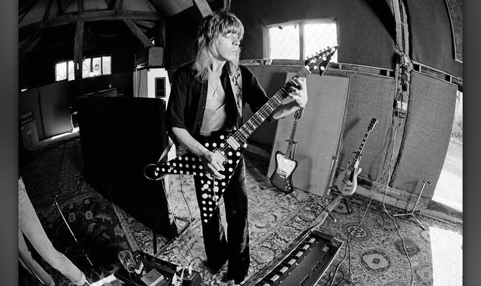 WEST SUSSEX, ENGLAND - 1st MAY: American guitarist Randy Rhoads (1956-1982) recording Ozzy Osbourne's 'Blizzard of Ozz' album