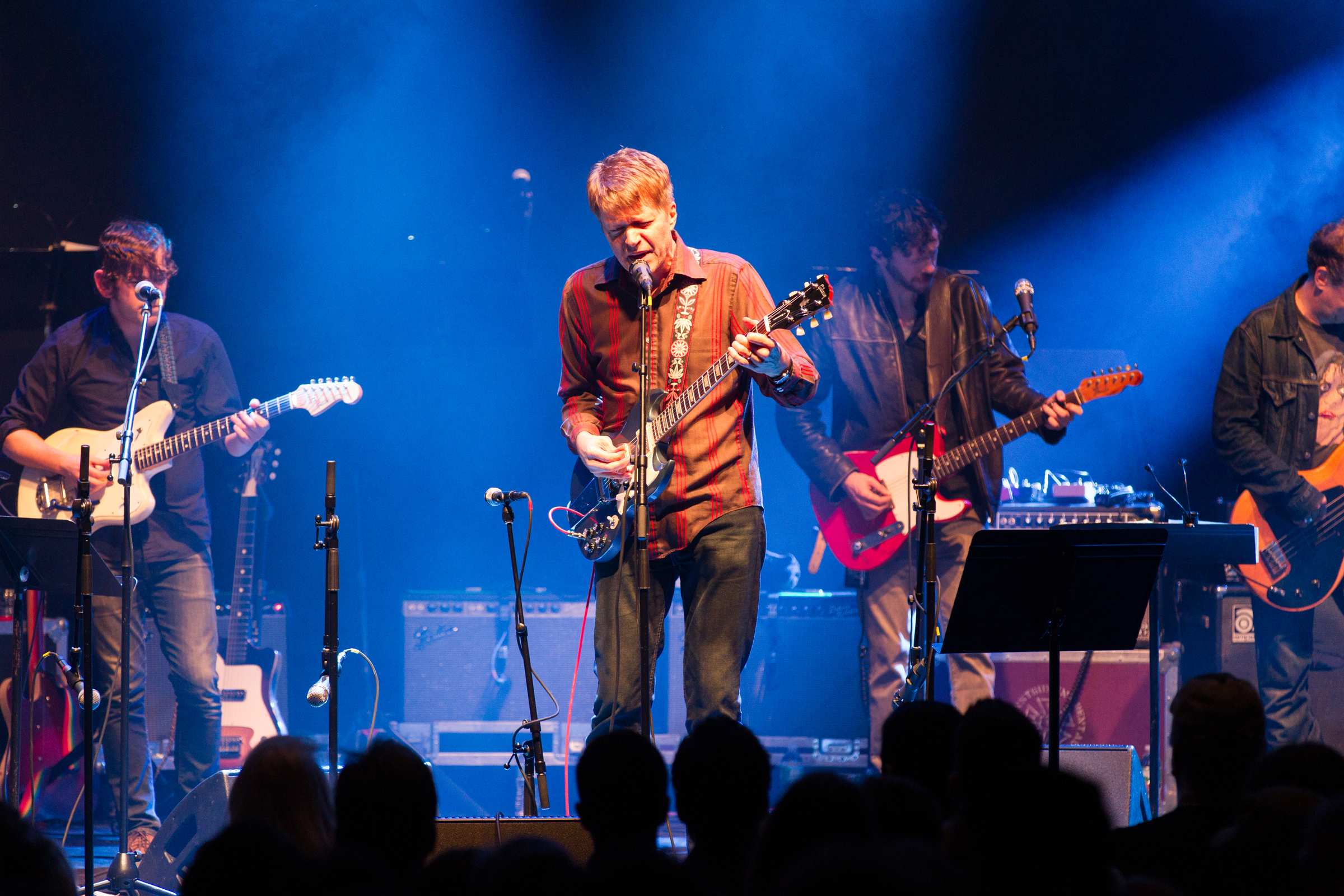 PT CHESTER, NY - NOVEMBER 27:  L-R Josh Cohen and Nels Cline of Wilco perform during The Last Waltz Show at The Capitol Theat