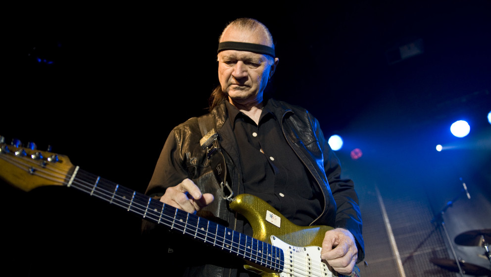 BARCELONA, SPAIN - APRIL 14: Dick Dale performs on stage at Sala Apolo on April 14, 2010 in Barcelona, Spain. (Photo by Jordi