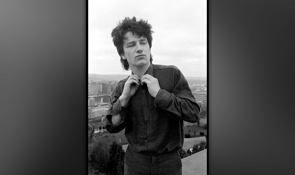 Bono of U2 on top of Cork Country Club Hotel roof in Cork, Ireland on February 4 1980