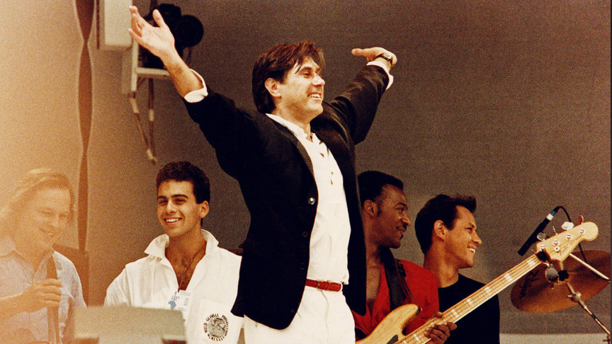 LONDON, UNITED KINGDOM - JULY 13: Bryan Ferry performs on stage at Live Aid in Wembley Stadium on July 13th, 1985, London, En