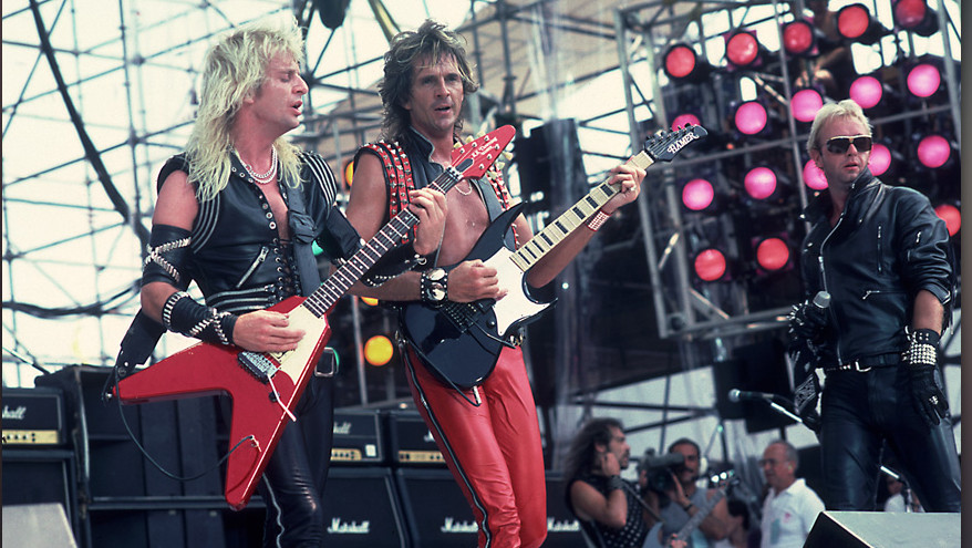 PHILADELPHIA, JULY 13:  Judas Priest perform at Live Aid at Veteren's Stadium on July 13, 1985 in Philadelphia, Pennsylvania.