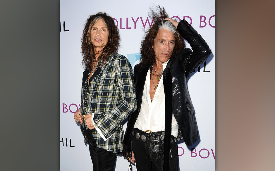 LOS ANGELES, CA - JUNE 22:  Steven Tyler and Joe Perry of Aerosmith attends the Hollywood Bowl opening night celebration at T