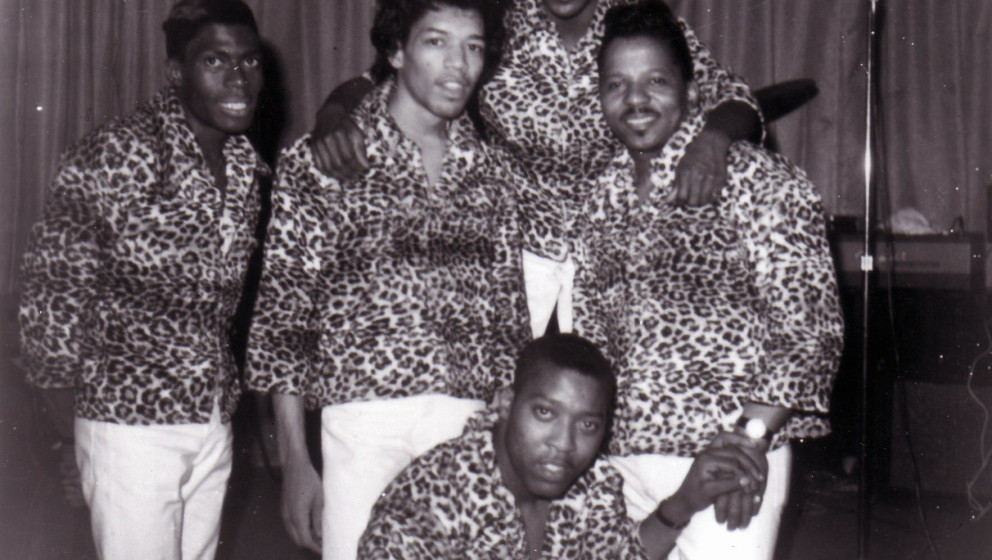 UNSPECIFIED - JANUARY 01:  Photo of Jimi HENDRIX and Curtis KNIGHT and SQUIRES; Group portrait L-R Ned Edmonds, Jimi Hendrix,
