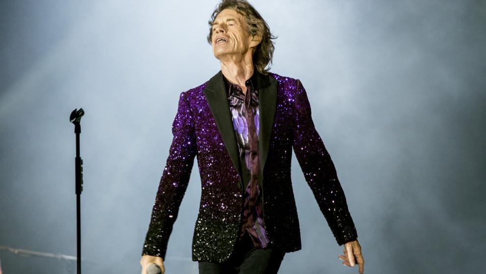 Mick Jagger beim Auftritt der Rolling Stones in Roskilde