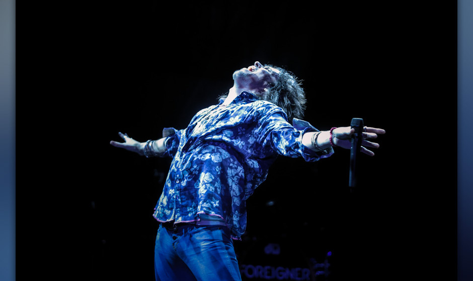 LONDON, UNITED KINGDOM - APRIL 13: Kelly Hansen of Foreigner performs on stage at Eventim Apollo, Hammersmith on April 13, 20