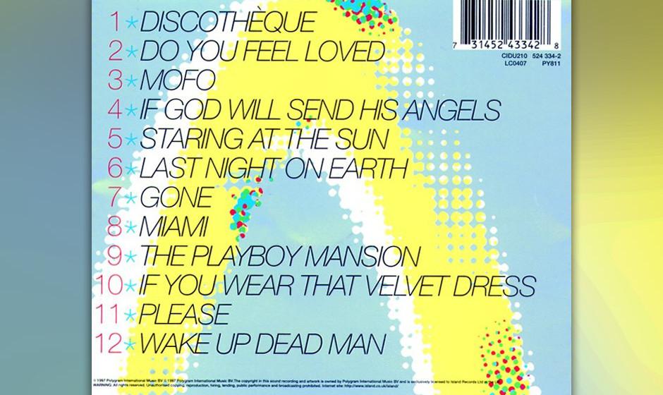 37. 'Do You Feel Loved'. Laut Bono gibt es auf 'Pop' zwei Sorten Songs: solche der Party- und die der Hangover-Phase. Dieses