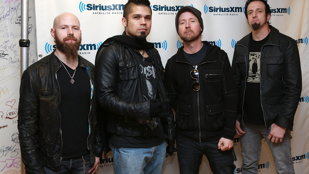 NEW YORK, NY - FEBRUARY 28:  (L-R) C.J. Pierce, Jasen Moreno, Stevie Benton and Mike Luce of Drowning Pool at SiriusXM Studio