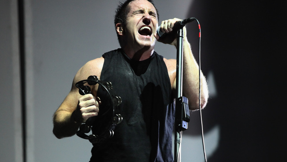 CHICAGO, IL - AUGUST 02:  (FOR EDITORIAL USE ONLY) Trent Reznor of Nine Inch Nails performs during Lollapalooza 2013 at Grant
