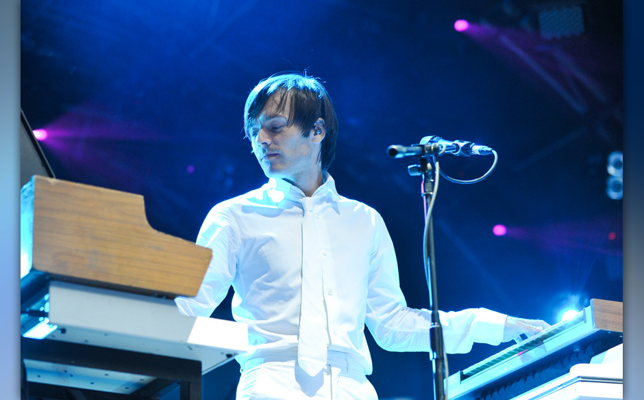LONDON, ENGLAND - JULY 09:  Jean-Benoit Dunckel of French electronica band Air performs on stage for the Summer Series 2010 a