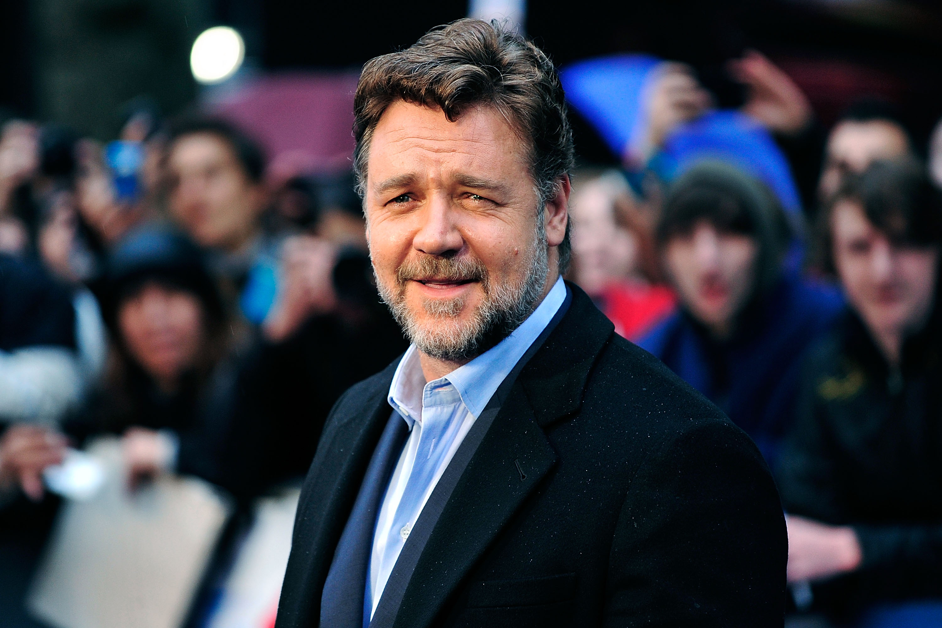 LONDON, ENGLAND - JUNE 12:  Russell Crowe attends the UK Premiere of 'Man of Steel' at Odeon Leicester Square on June 12, 201