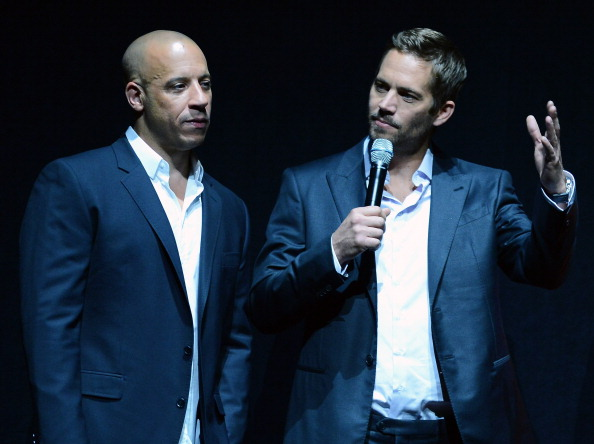 LAS VEGAS, NV - APRIL 16:  Actors Vin Diesel (L) and Paul Walker attend a Universal Pictures presentation to promote their up