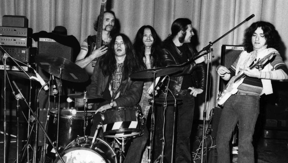 German experimental rock group Can, from left to right; Holger Czukay, Michael Karoli, Damo Suzuki, Irmidt Schmidt and Jaki L