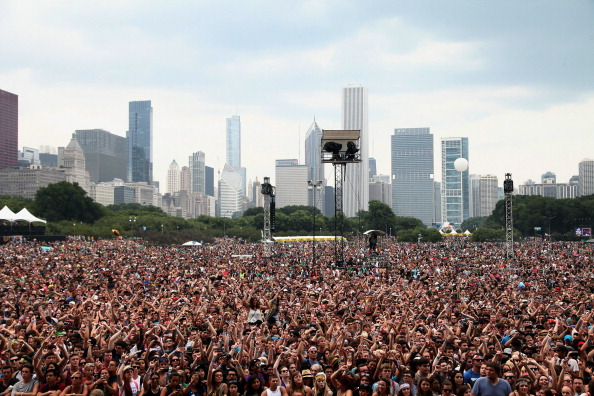 CHICAGO, IL - AUGUST 02:  General view of the Chicago skyline from the Red Bull Sound Select Stage during Lollapalooza 2013 a