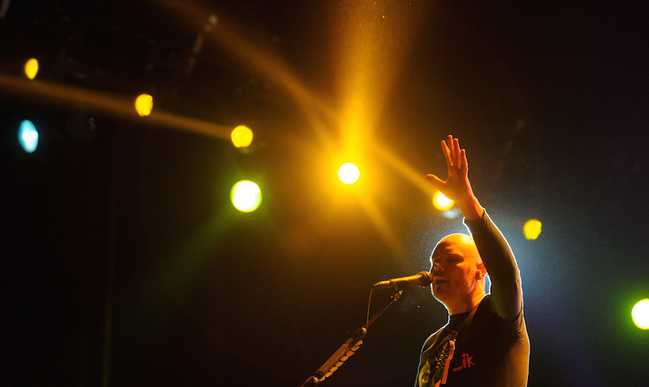 US singer Billy Corgan of the band Smashing pumkins performs on the stage of the Eurockeennes music festival on July 5, 2013,