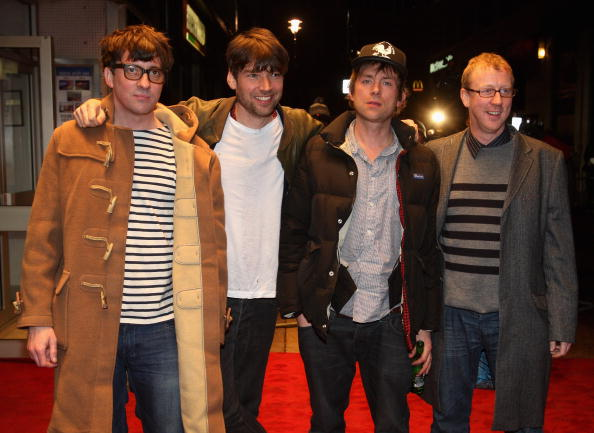 LONDON, ENGLAND - JANUARY 14:  Graham Coxon, Alex James, Damon Albarn and Dave Rowntree attend World Premiere of 'No Distance