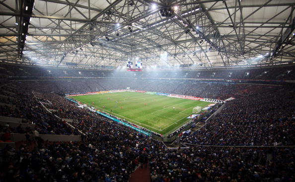 GELSENKIRCHEN, GERMANY - APRIL 03:  A general view of the Veltins Arena during the Bundesliga match between FC Schalke 04 and