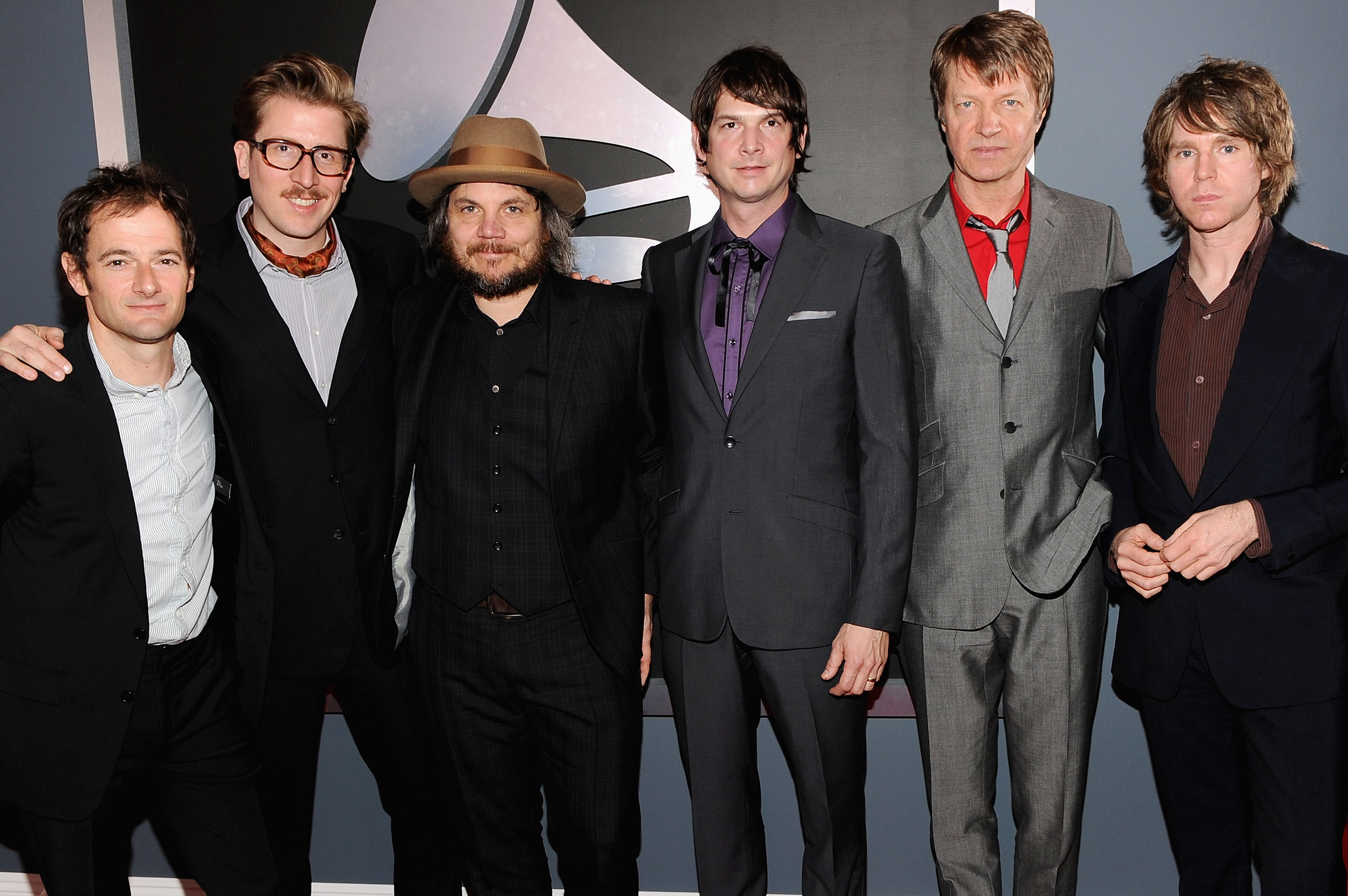 LOS ANGELES, CA - FEBRUARY 12:  (L-R) Musicians John Stirratt, Mikael Jorgensen, Jeff Tweedy, Glenn Kotche, Nels Cline, and P