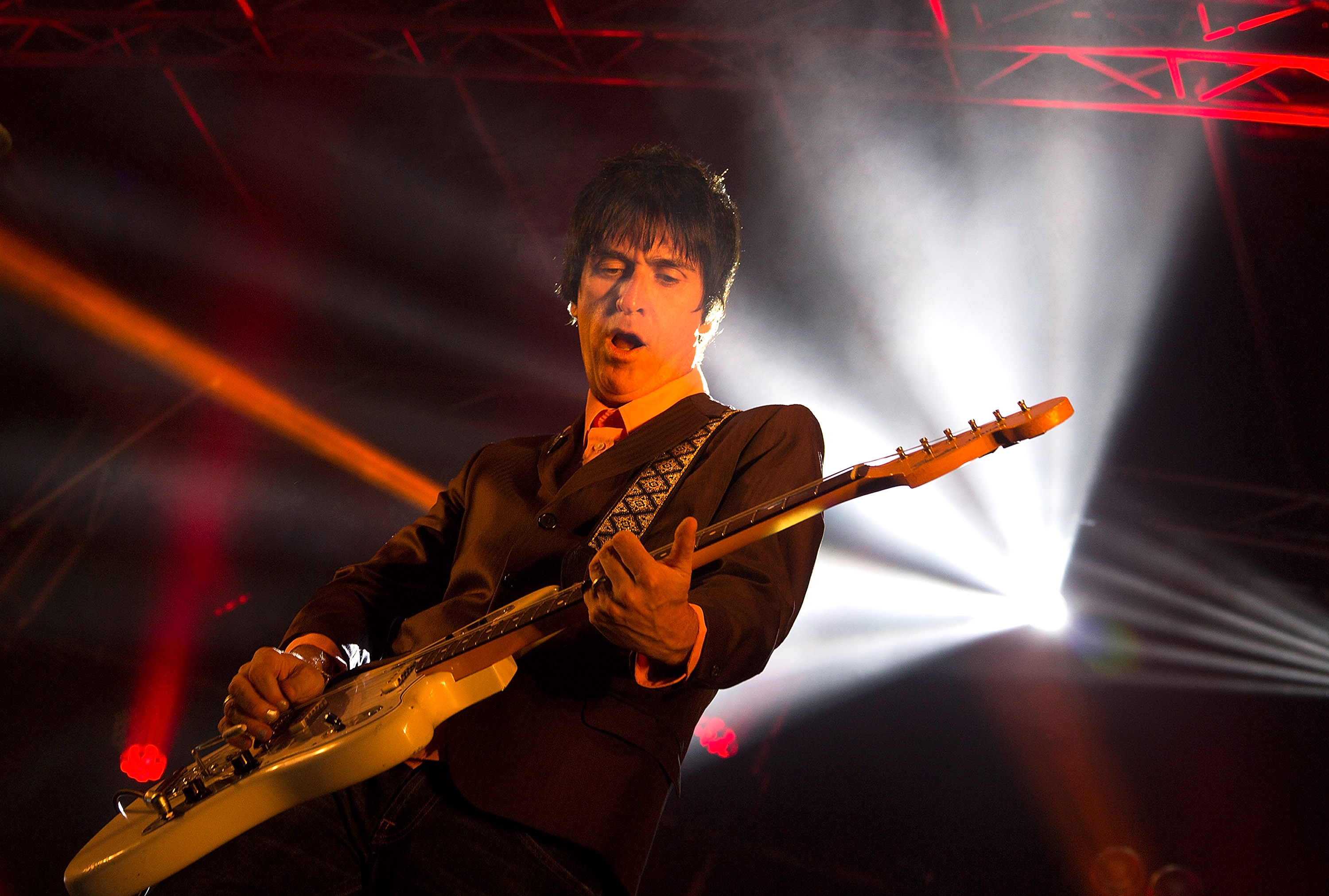 THIRSK, ENGLAND - JULY 26:  Johnny Marr performs on stage at Deer Shed Festival at Baldersbey Park, Topcliffe on July 26, 201