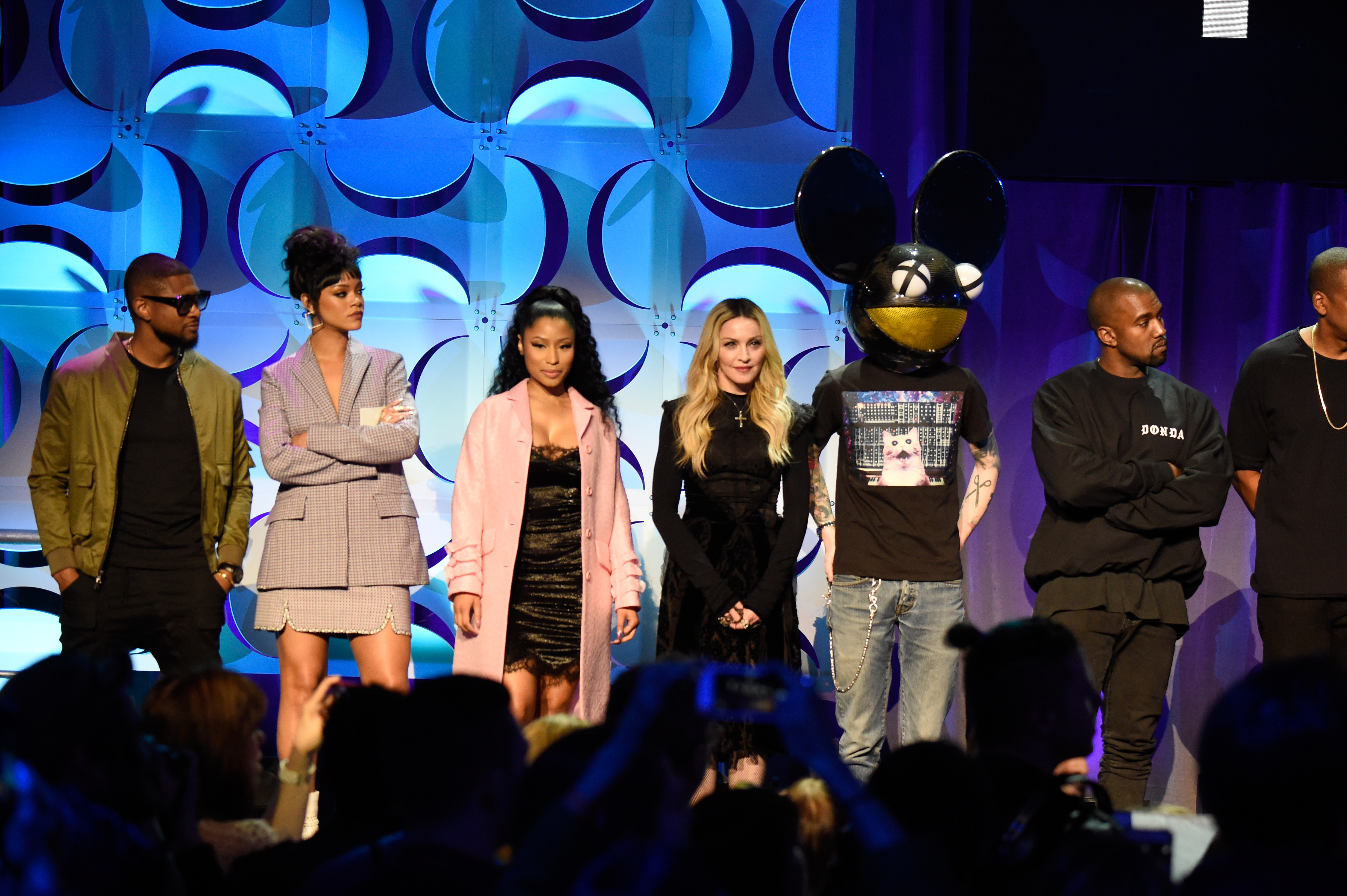 NEW YORK, NY - MARCH 30:  Rihanna,  Nicki Minaj, Madonna, Deadmau5 and Kanye West attend the Tidal launch event #TIDALforALL