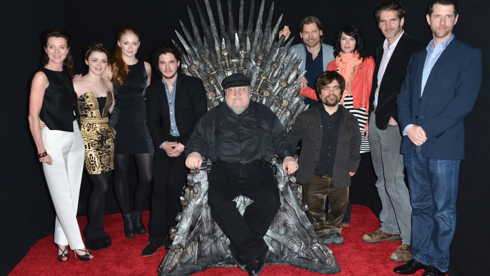 HOLLYWOOD, CA - MARCH 19:  Actors Michelle Fairley, Maisie Williams, Sophie Turner, Kit Harington, executive producer George