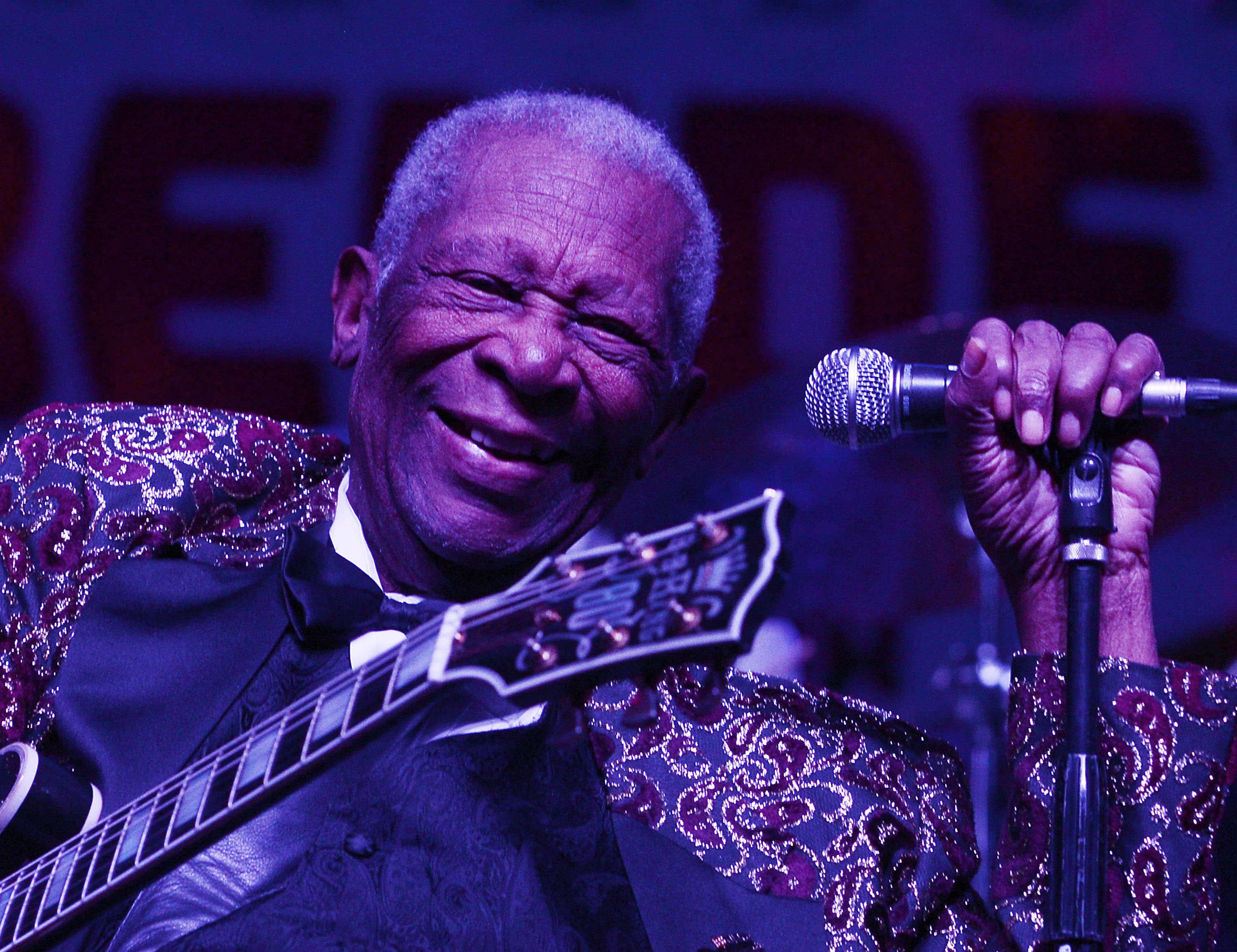 LAS VEGAS, NV - SEPTEMBER 26:  B.B. King performs at the 2014 Big Blues Bender at the Rivera Hotel & Casino on September