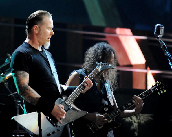 NEW YORK, NY - OCTOBER 30:  James Hatfield of Metallica performs onstage at the 25th Anniversary Rock & Roll Hall of Fame
