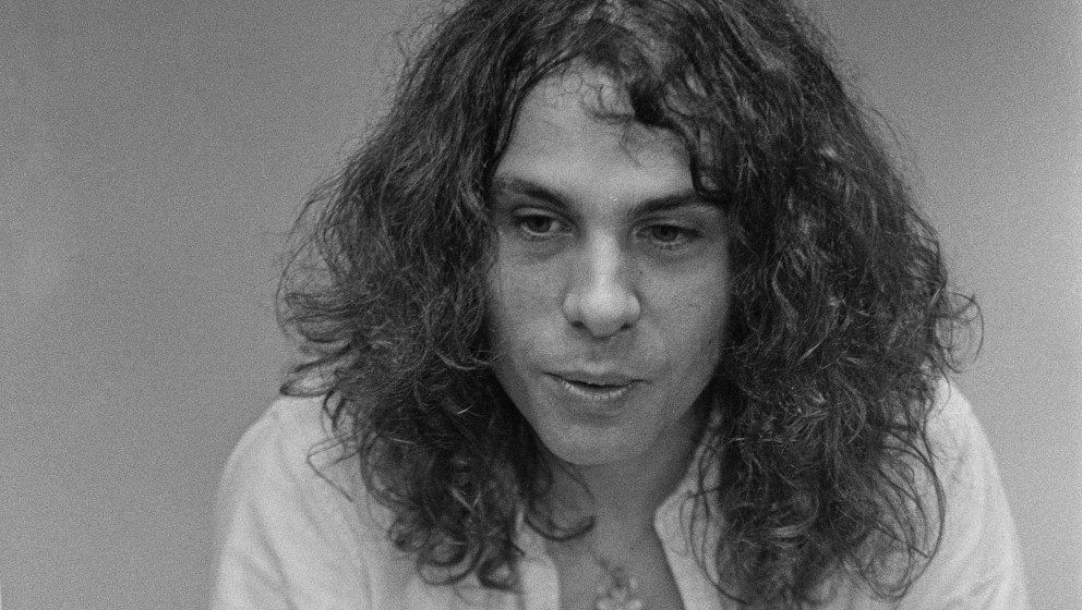 HOUSTON, USA - 30th AUGUST: Ronnie James Dio (1942-2010) from rock group Elf posed backstage at the Astrodome in Houston, Tex