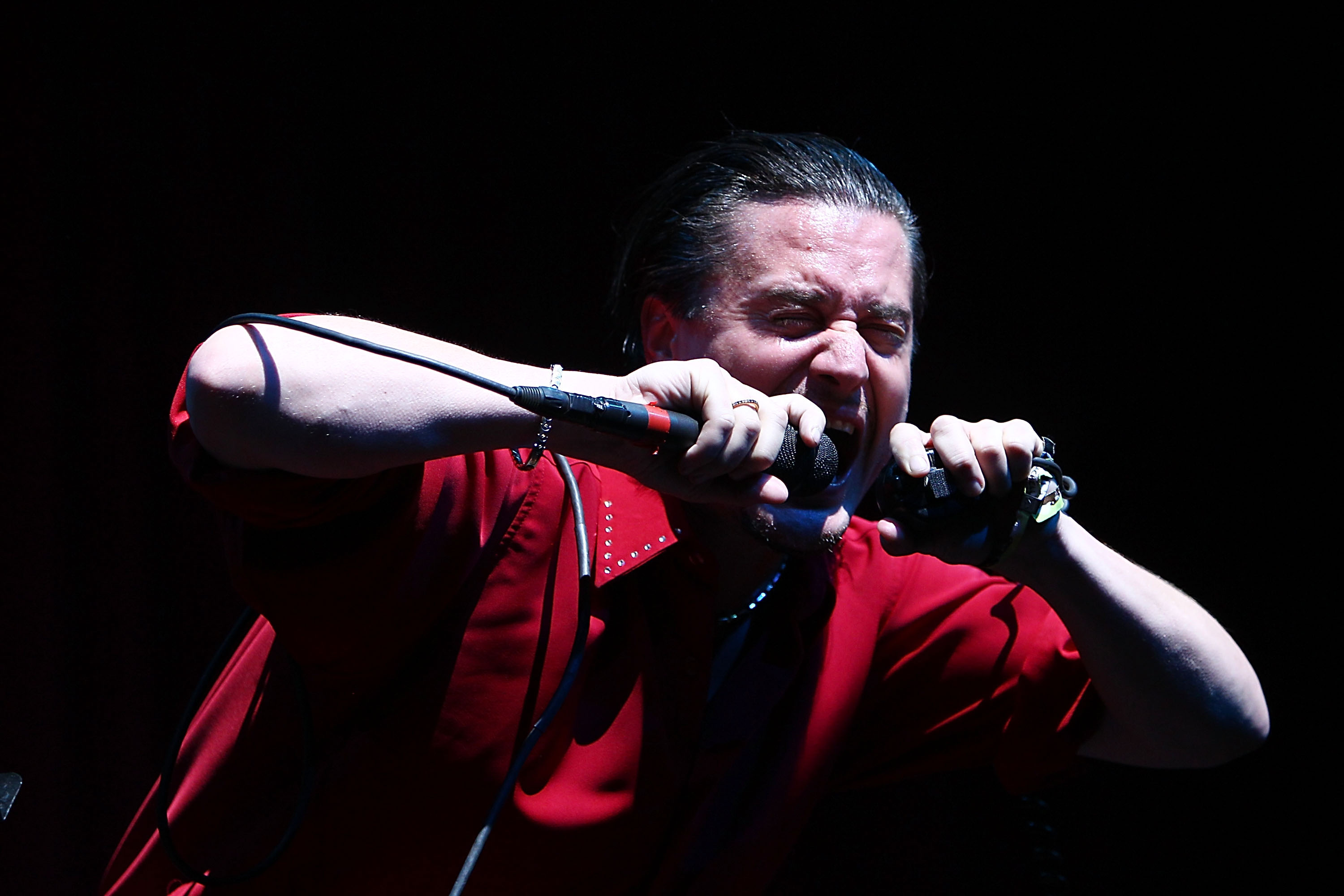 Mike Patton of the band Faith No More performs on Day 2 of the 2010 Coachella Valley Music & Arts Festival  at The Empire
