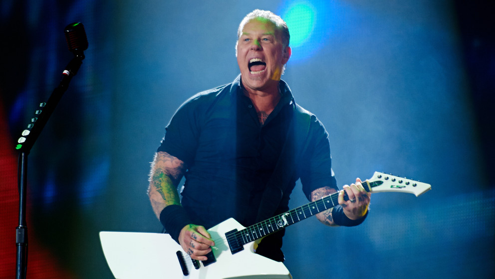 KNEBWORTH, UNITED KINGDOM - JULY 06: James Hetfield of Metallica performs on stage at Sonisphere at Knebworth Park on July 6,