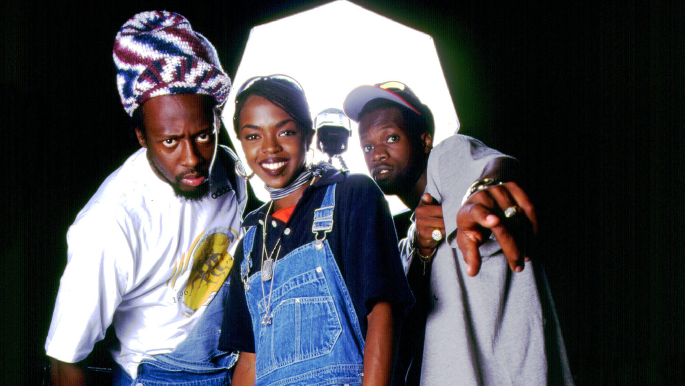 Wyclef Jean, Lauryn Hill and Praz of the Fugees on 8/16/96 in Chicago, Il. (Photo by Paul Natkin/WireImage)
